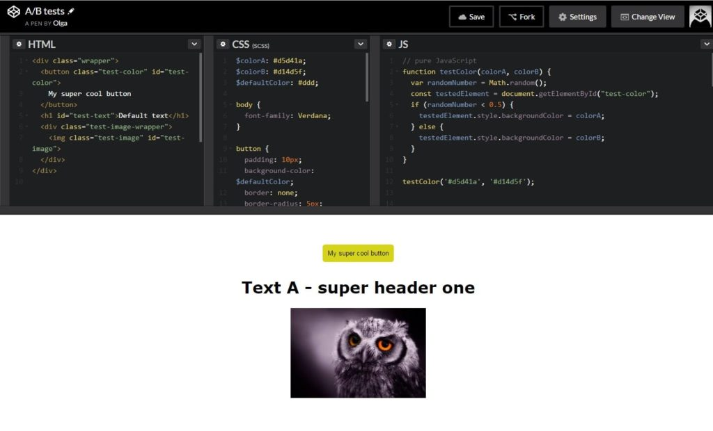 screenshot from Codepen