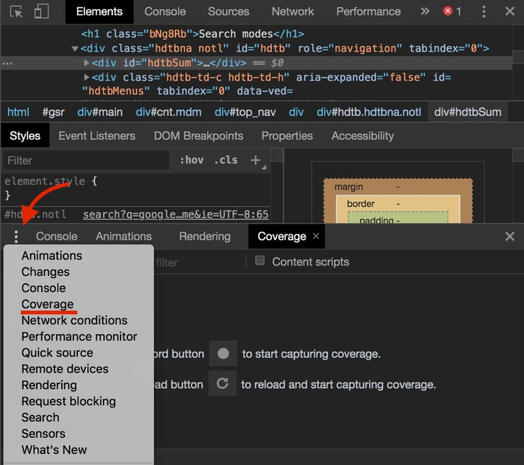 Coverage chrome dev tools